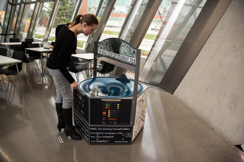 <p>Martha Rosler, <em>Coin Vortex for Student Debt</em>, 2014, photo courtesy Aaron Word.</p>