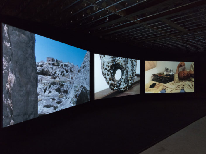 <p>Emre Hüner, <i>Neochronophobiq</i>, installation Protocinema, New York, 2017, courtesy Rodeo, London, photo: John Berens.</p>