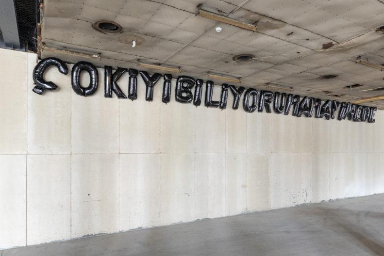 <p>Banu Cennetoğlu, <i>ÇOKİYİBİLİYORUMAMAYİNEDE</i>, 2015-süregelen. Helyum şişirilmiş mylar balonlar. Fotoğraf: Zeynep Fırat © Banu Cennetoğlu. Sanatçı ve Rodeo Galeri, London & Piraeus izniyle. <em>Bir Zamanlar Kavranamayan</em> sergisi kapsamında, Protocinema, 2021</p>