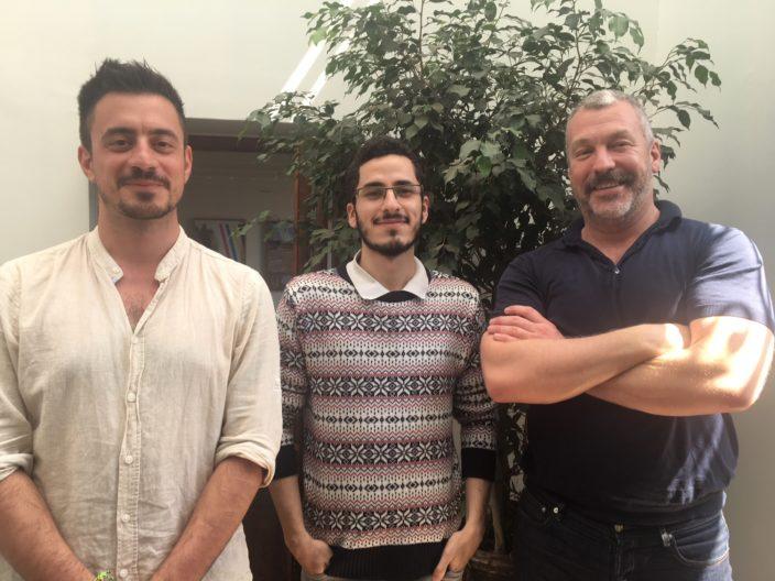 <p>Hasan Özgür Top, Ghaith Mofeed, and Joel Yoss, Lima, 2018.</p>