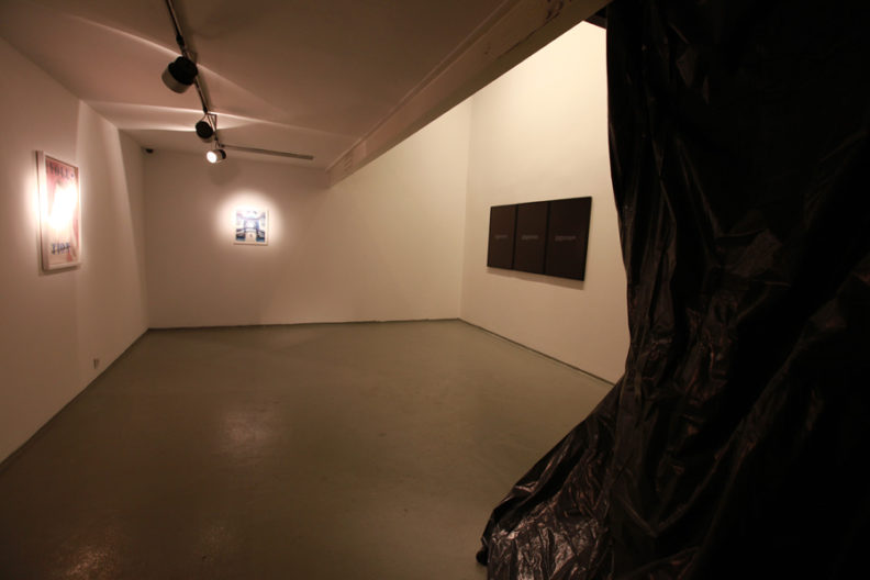 <p>Installation view, <em>Thief</em>, Protocinema, 2011. Van Yetter, Redwood-Martinez, Atlagan.</p>
